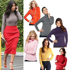 WOMENS POLO NECK TOP STRETCH LADIES ROLL NECK LONG SLEEVES TURTLE NECK TEE 8-22