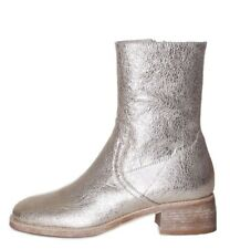 TWIN SET Stivali Pelle Platino Platinum Leather Ankle Boots 40mm CS8PA3 New 2018