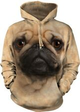 Pug Face Adult Dog Hoodie the Mountain
