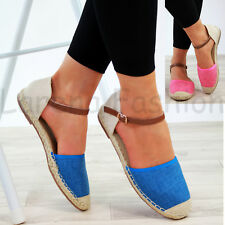 New Womens Flat Closed Toe Sandals Comfy Espadrille Ankle Strap Holiday Shoes