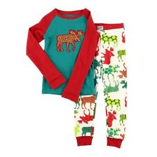 LazyOne Unisex Pattern Moose Kids PJ Set Long Sleeves