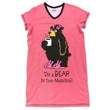 LazyOne Womens Bear in the Morning Nightshirt V Neck