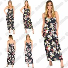 Ladies Floral Printed Cami Strappy Sleeveless Lagenlook Baggy Summer Maxi Dress