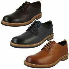 Mens Clarks Formal Wood Effect Heel Lace Up Leather Shoes Pitney Walk