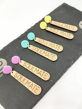 Soulmate. Wooden and acrylic laser cut stud earrings. Love. Lover. Gift for her