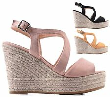 LADIES WEDGE PLATFORM CUT OUT FAUX SUEDE PEEP TOE ESPADRILLES SANDALS SHOES