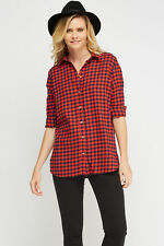 TNL Women's Red & Navy Blue Checked Cotton Roll up sleeve Shirt Blouse Top 8-12