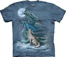 Mountain Maglietta Dragon Wolf Moon Fantasy Adulto Unisex