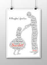 Dad Daddy Word Art Print Birthday Gift Daughter Son Personalised Father's Day
