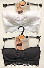 8650681a7bf9a M S Seam Free Strapless Bandeau Bra Sizes S M Non Wired Padded Black White  BNWT