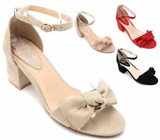 WOMENS BLOCK HEEL  ANKLE BUCKLE STRAP SANDALS LADIES PEEP TOE PARTY SHOES SIZE