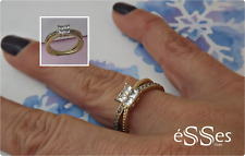 Anillo Solitario Acero Dorado Mujer - Womens Stainless Steel Gold Ring AAA CZ