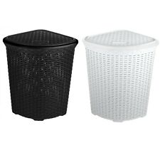 Spacious Large Corner Plastic Faux Rattan Laundry Washing storage Basket W/ Lid