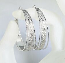 SALE 9ct 9K White Gold Filled Ladies Hoop 40mm Earring Valentine Xmas Gift E606C