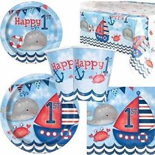 Boys 1st Birthday Nautical themed party for 8 guests, 16 guests, tableware set