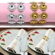 50pcs Plastic Mesh Rhinestone Table Napkin Holder Rings Wedding Banquet Decor