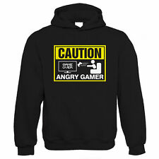 Caution Angry Gamer Mens Funny Video Game Hoodie