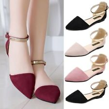 NEW LADIES WOMENS POINTED BALLET PUMPS ANKLE STRAP BALLERINA SANDALS SHOES FLATS