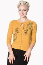Mustard Floral Roses Embroidery Vintage 1950's Retro Cardigan By Banned Apparel