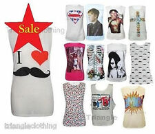 Ladies Girls Graphic Printed T-Shirt Tee Tops Bieber Superman Mustache I Love