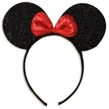 Black Sparkly Glitter Mini Mouse Ears With Red Bow Sequin Headband Girls