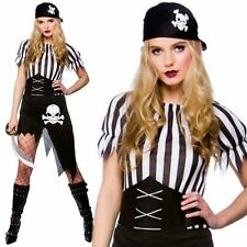 Adult Pirate Wench Lady Costume Buccaneer Ladies Female Fancy Dress Outfit 6-20