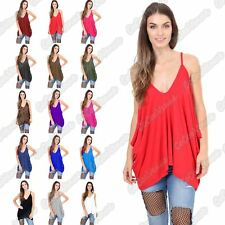Ladies V Neck Strappy Lagenlook Plain Hanky Loose Fit Romper Baggy Cami Vest Top