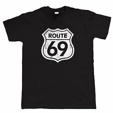 Route 69, Mens Funny Biker T Shirt, Classic Vintage Retro Motorcycle