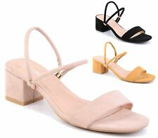WOMENS BLOCK HEEL  ANKLE STRAP SANDALS LADIES PEEP TOE PARTY SHOES SIZE