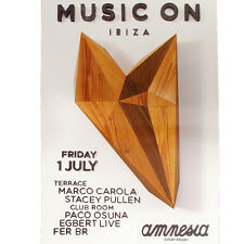 Music On Amnesia Ibiza Club Poster Marco Carola Stacey Pullen 1st July 2016