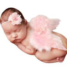 Baby Kids Photography Props Outfit Feather Angel Wings Costume Flower Headband
