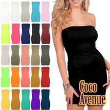 New Ladies Bandeau Boobtube Stretchy Bodycon Plain Sleeveless Party Mini Dress