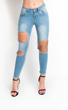 IKRUSH Womens Emily Skinny Mid Rise Ripped Jeans