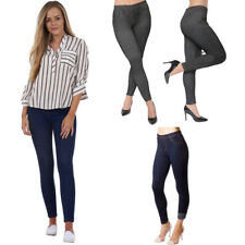 New Ladies Womens Stretchy Denim Look Skinny Jeggings Leggings Plus Size 8-26 UK