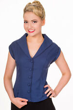 Navy Rockabilly Pinup Vintage 50s Retro Shirt Blouse Button Top Banned Apparel