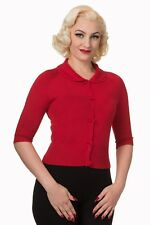 Red Retro Rockabilly Vintage Plain Peter Pan Collar Cardigan By Banned Apparel