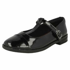 Girls Clarks Buckle Fastening T Bar Patent Leather School Shoes - 'Drew Shine'