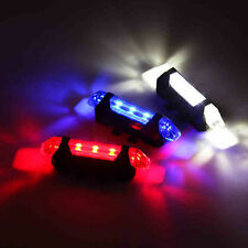 USB Rechargeable 5 LED Bicycle Cycling Tail Rear Safety Warning Light Lamp