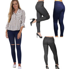 Womens High Waist Stretchy Skinny Jeans CUT OUT Denim Look Ladies Jegging 8-26