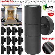 NEW Black Stainless Steel Up Down GU10 Wall Light IP44 Double Indoor Outdoor LED