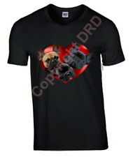 French Bulldogs in Heart Tshirt T-shirt V or Crew Neck Birthday Gift