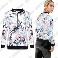 New Ladies Long Sleeve Floral Butterfly Printed Party Bomber Jacket Zipper Top