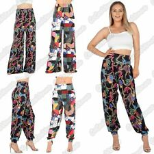 New Ladies Patch Work Print Flared Palazzo Baggy Harem Alibaba Leggings Trousers