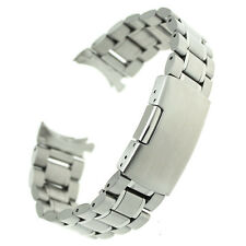 Stainless Steel Watch Band Bracelet Curved End Solid Links 18 20 22 24 mm