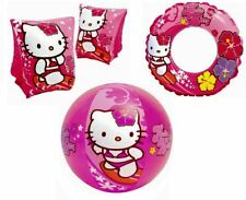 INTEX HELLO KITTY INFLATABLE BLOW UP SWIMMING ARM BANDS, BEACH BALL & SWIM RING