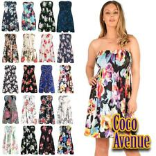 New Ladies Floral Print Sheering Boobtube Bandeau Ruched Summer Swing Mini Dress