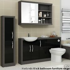 Bathroom Fitted Furniture Vanity with Mirror and Cabinet Unit in Grey & Black