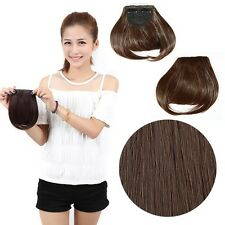 Women Clip In On Fringe Hair Extensions Human Hairpiece Real Thick Straight Hair