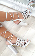 IKRUSH Womens Carmen Studded Caged Block Heels
