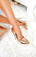 IKRUSH Womens Cindy Metallic Studded Court Heels